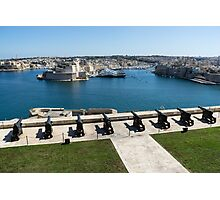 Guarding the Expensive Boats - Valletta's Grand Harbour Saluting Battery Photographic Print