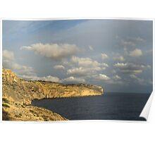 Sunlit Limestone Cliffs in Malta Poster