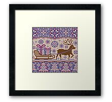 Knitted pattern reindeer  Framed Print