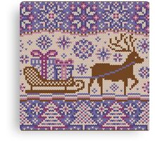 Knitted pattern reindeer  Canvas Print
