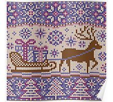 Knitted pattern reindeer  Poster