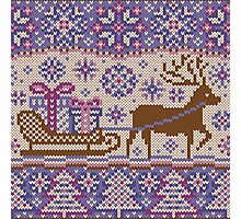 Knitted pattern reindeer  Photographic Print