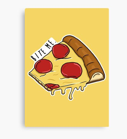 Bite Me - Pizza Canvas Print