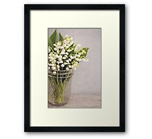 Lily of the Valley in a jar. Framed Print