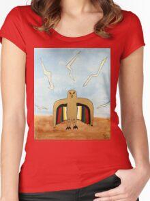 Dancing Robot Bird T Shirt Women's Fitted Scoop T-Shirt