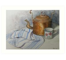 Old Kettle and Cup Still life Art Print