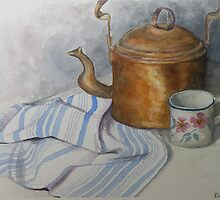 Old Kettle and Cup Still life by Rita Chisholm