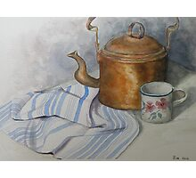 Old Kettle and Cup Still life Photographic Print