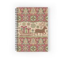 Knitted pattern with reindeer red/green Spiral Notebook