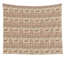 Knitted pattern with reindeer red/green Wall Tapestry