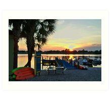 ORANGE LAKE SUNSET at the beach Art Print