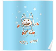 Winter card with rabbit. Poster