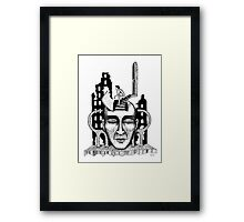 Decision surreal black and white pen ink drawing Framed Print