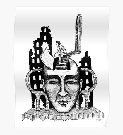 Decision surreal black and white pen ink drawing Poster