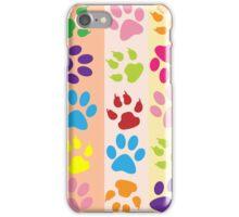Multi Coloured Paw Print iPhone Case/Skin