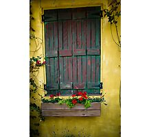 Green shutter with flower box Photographic Print