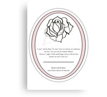The Magic Rose- Beauty and the Beast fairy tale  Canvas Print