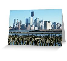 World Trade Center, Lower Manhattan, View from Hoboken, New Jersey Greeting Card