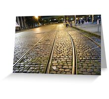 Abandoned TrolleyTracks at Night, Hoboken, New Jersey Greeting Card