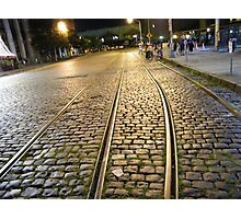 Abandoned TrolleyTracks at Night, Hoboken, New Jersey Photographic Print