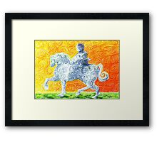he rides a white horse Framed Print
