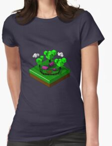 Isometric island frame - Pig Womens Fitted T-Shirt