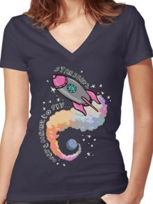 Starships Were Meant To Fly! Women's Fitted V-Neck T-Shirt