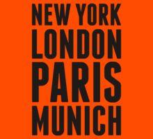 New York, London, Paris, Munich - [Black] Kids Tee