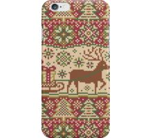 Knitted pattern with reindeer red/green iPhone Case/Skin