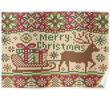 Knitted pattern with reindeer red/green Poster
