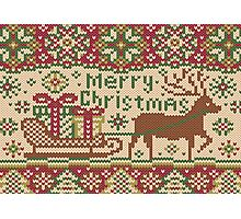 Knitted pattern with reindeer red/green Photographic Print