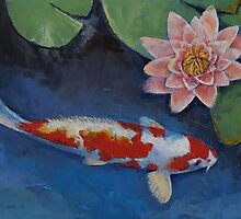 Koi and Water Lily by Michael Creese