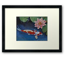 Koi and Water Lily Framed Print