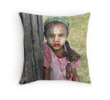 Girl at U Bein Bridge  Throw Pillow