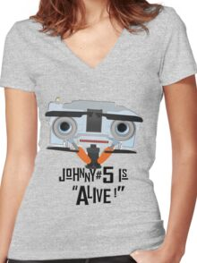 Johnny 5 is ALIVE! Women's Fitted V-Neck T-Shirt