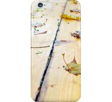Wet wooden platform made of planks iPhone Case/Skin