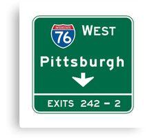 Pittsburgh, PA Road Sign, USA Canvas Print
