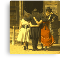 """The Gunslinger, Saloon Floozies & the Marshall"" Canvas Print"