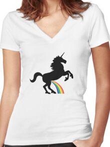 Unicorn Rainbow Pee (black design) Women's Fitted V-Neck T-Shirt