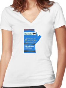 Manitoba Welcomes You, Road Sign, Canada Women's Fitted V-Neck T-Shirt