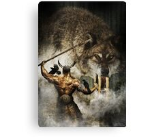 Odin and Fenrir Canvas Print