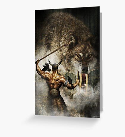 Odin and Fenrir Greeting Card