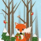 Cute Christmas Fox in a snowy forest with text by walstraasart
