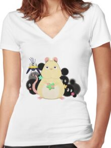 Mouse and bird from Spirited Away. Women's Fitted V-Neck T-Shirt
