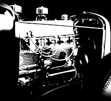 Chevy Rat Rod - Motor (B&W) by blulime
