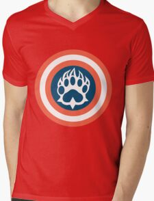 Captain Bear Mens V-Neck T-Shirt