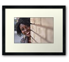 Brenda peaking around corner RO Framed Print
