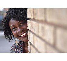 Brenda peaking around corner RO Photographic Print