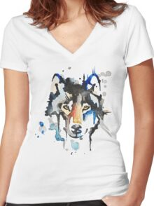 Watercolour Wolf Women's Fitted V-Neck T-Shirt