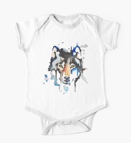 Watercolour Wolf One Piece - Short Sleeve